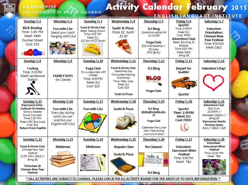 February   Winter Activity Calendar Iep  Student Life